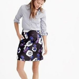 J Crew A Line in Violet Poppy Skirt Size 4